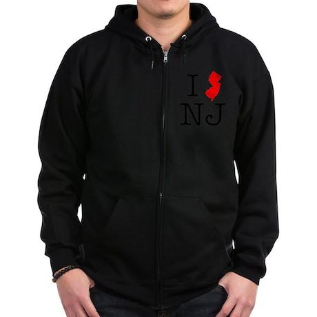I Love NJ New Jersey Zip Hoodie (dark)