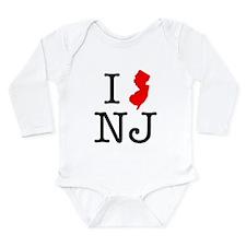 I Love NJ New Jersey Long Sleeve Infant Bodysuit