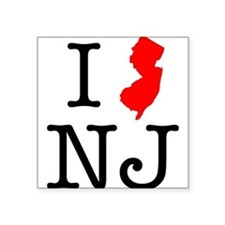"I Love NJ New Jersey Square Sticker 3"" x 3"""