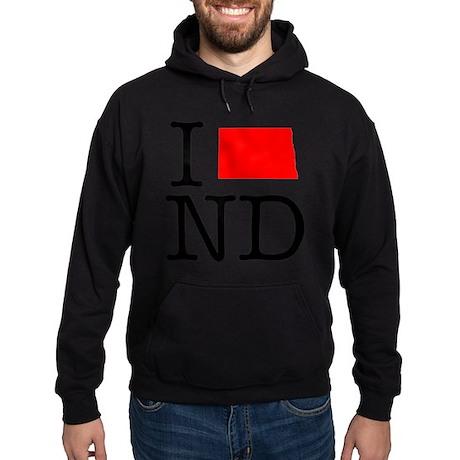 I Love ND North Dakota Hoodie (dark)