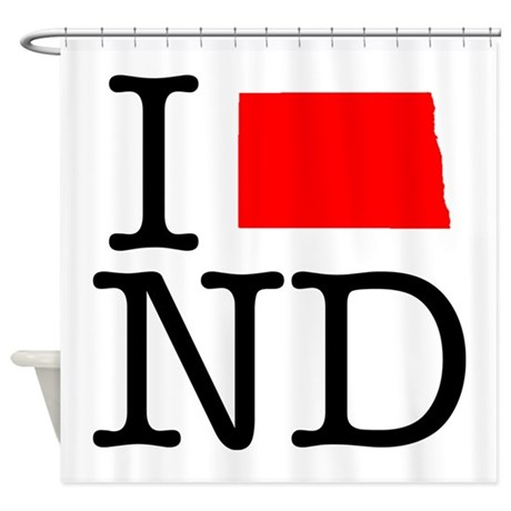 I Love ND North Dakota Shower Curtain