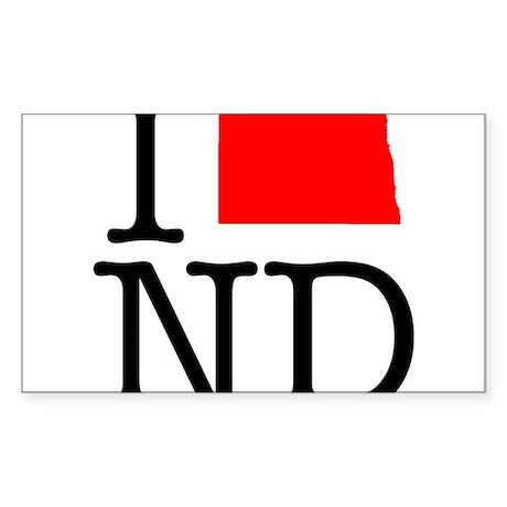 I Love ND North Dakota Sticker (Rectangle)
