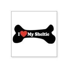 "I Love My Sheltie - Dog Bone Square Sticker 3"" x 3"