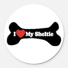 I Love My Sheltie - Dog Bone Round Car Magnet