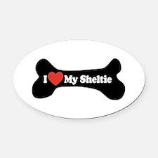 I Love My Sheltie - Dog Bone Oval Car Magnet