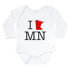 I Love MN Minnesota Long Sleeve Infant Bodysuit