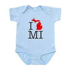 I Love MI Michigan Onesie