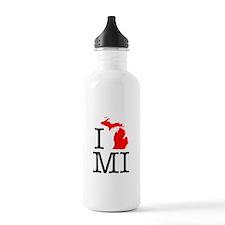 I Love MI Michigan Water Bottle