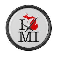 I Love MI Michigan Large Wall Clock