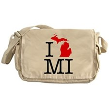 I Love MI Michigan Messenger Bag