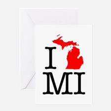 I Love MI Michigan Greeting Card