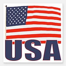 """USA flag Square Car Magnet 3"""" x 3"""""""