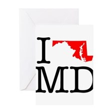 I Love MD Maryland Greeting Card
