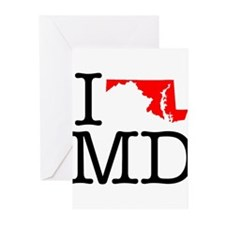 I Love MD Maryland Greeting Cards (Pk of 10)