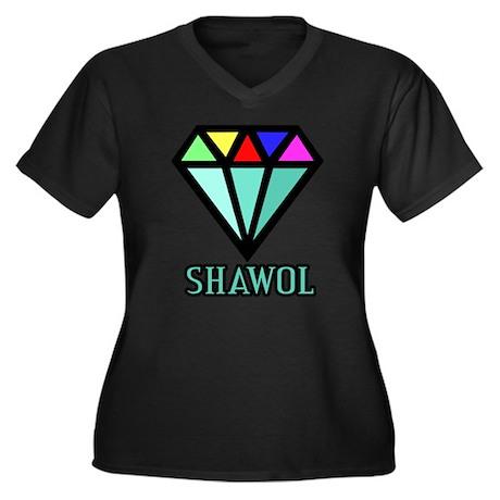 Shawol Diamond Women's Plus Size V-Neck Dark T-Shi