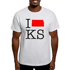 I Love KS Kansas T-Shirt