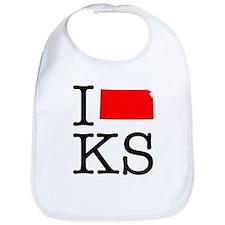 I Love KS Kansas Bib
