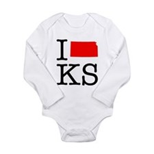 I Love KS Kansas Long Sleeve Infant Bodysuit
