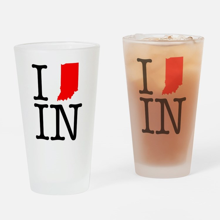 I Love IN Indiana Drinking Glass