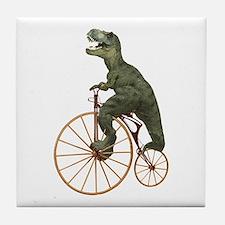 Tyrannosaurus Rex Penny Farthing Tile Coaster