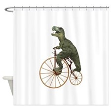 Tyrannosaurus Rex Penny Farthing Shower Curtain