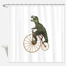 Tyrannosaurus Rex Penny Farthing Shower Curtain