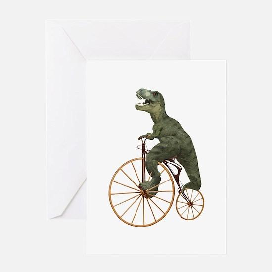 Tyrannosaurus Rex Penny Farthing Greeting Card