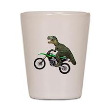 Dirt Bike Wheelie T Rex Shot Glass