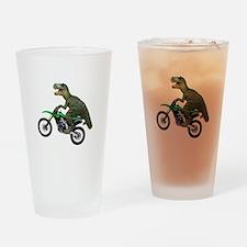 Dirt Bike Wheelie T Rex Drinking Glass
