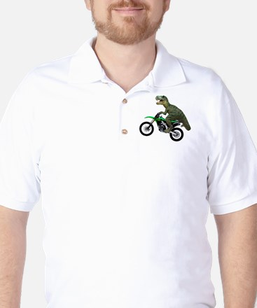 Dirt Bike Wheelie T Rex Golf Shirt