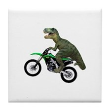 Dirt Bike Wheelie T Rex Tile Coaster