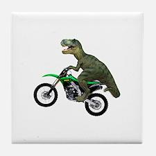 Dirt Bike Wheelie T Rex Tile Coaster