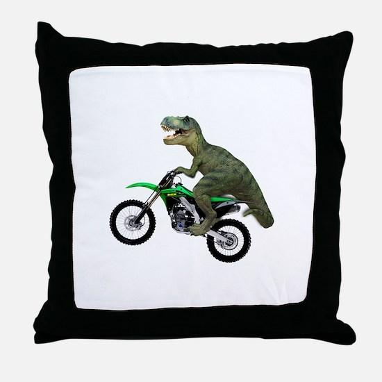Dirt Bike Wheelie T Rex Throw Pillow