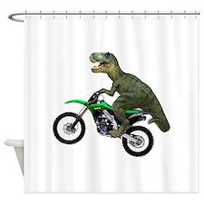 Dirt Bike Wheelie T Rex Shower Curtain