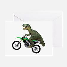 Dirt Bike Wheelie T Rex Greeting Card