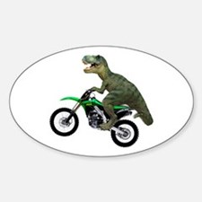 Dirt Bike Wheelie T Rex Sticker (Oval)