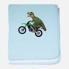 Dirt Bike Wheelie T Rex baby blanket
