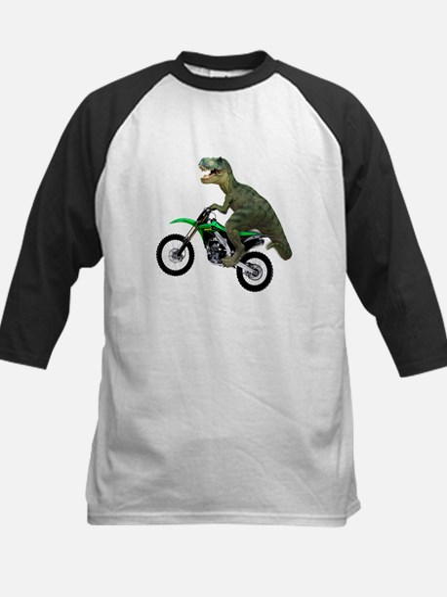 Dirt Bike Wheelie T Rex Kids Baseball Jersey