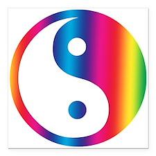 "Rainbow Yin Yang Square Car Magnet 3"" x 3"""