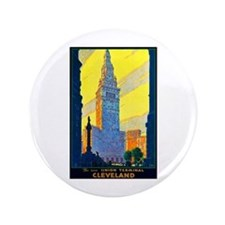"""Cleveland Travel Poster 2 3.5"""" Button"""