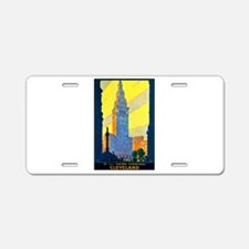 Cleveland Travel Poster 2 Aluminum License Plate