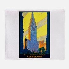 Cleveland Travel Poster 2 Throw Blanket