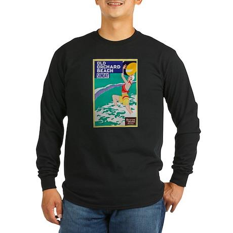 Maine Travel Poster 2 Long Sleeve Dark T-Shirt