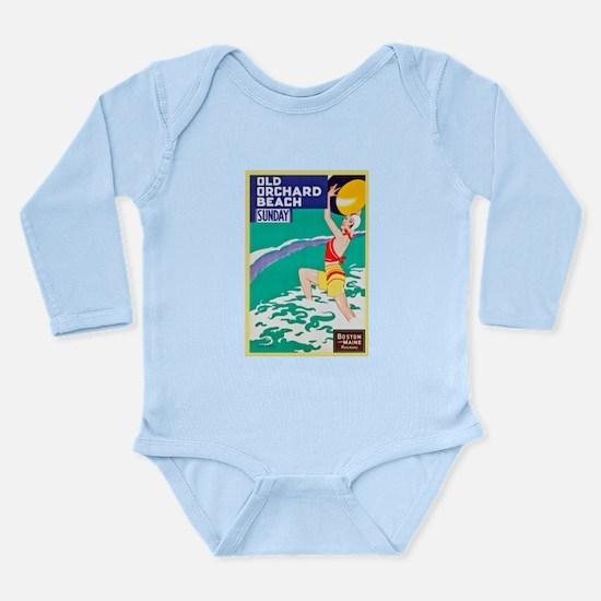 Maine Travel Poster 2 Long Sleeve Infant Bodysuit
