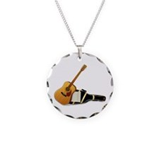 Acoustic Guitar Necklace Circle Charm