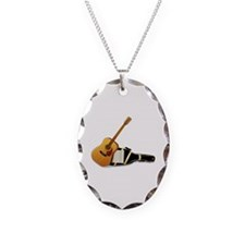 Acoustic Guitar Necklace Oval Charm