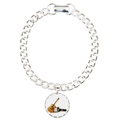 Acoustic Guitar Charm Bracelet, One Charm