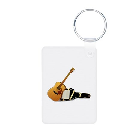 Acoustic Guitar Aluminum Photo Keychain