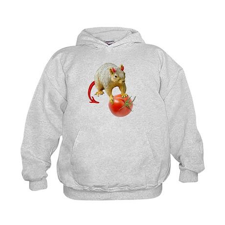 Devil Squirrel Stealing Tomato Kids Hoodie