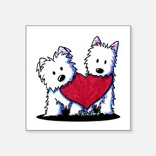 "Heartfelt Westies Square Sticker 3"" x 3"""